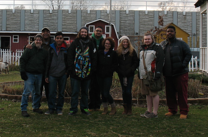 With Michael Howard (2nd from left), his son Troy Howard (far right), and RU students at Eden Place Nature Center, 1 Dec 2015