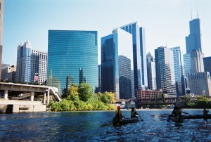 RU students canoe south into downtown Chicago on the Chicago River, Fall 2012 (M. Bryson)