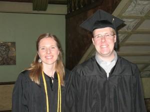 Jessie Crow Mermel and Jeff Wasil at RU's graduation ceremony, 15 Dec 2012 (photo: M. Bryson)