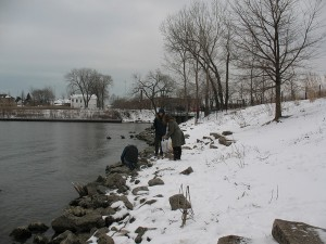 Picking up trash from the shoreline of the Chicago River's South Turning Basin, at the mouth of Bubbly Creek