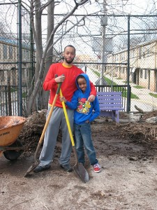 Troy and his son, working together on our 24 April 2013 workday