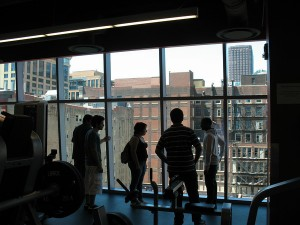 RU's fitness center, looking out on Wabash Ave in downtown Chicago