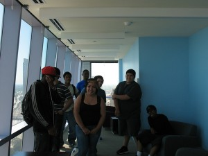 CIMBY students tour the Wabash residence hall at RU; this is the student lounge on the 31st floor!