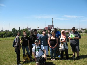 Our group atop the hill at Stearns Quarry Park, with the Fisk Power Plant in the background.