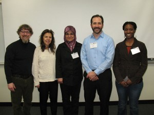 With SCI-Midwest Symposium organizer and RU biology prof, Bob Seiser (2nd from right), and conference friends (8 Mar 2014)