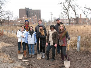 SUST students planting trees at Eden Place Nature Center, Chicago's South Side, 2 Dec 2014  (M. Bryson)