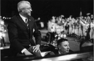 Houbolt being honored at Joliet Memorial Stadium in 1969 soon ofter the successful first moon landing (Herald-News)