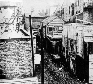 An alley in a Chicago slum, c. 1908 (source: Chicago Historical Society)