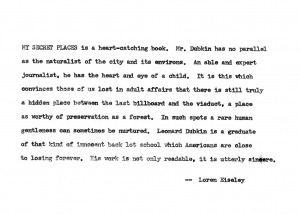Carbon copy of the dust-jacket blurb by Loren Eiseley, c. 1972 (source: P. Dubkin Yearwood)