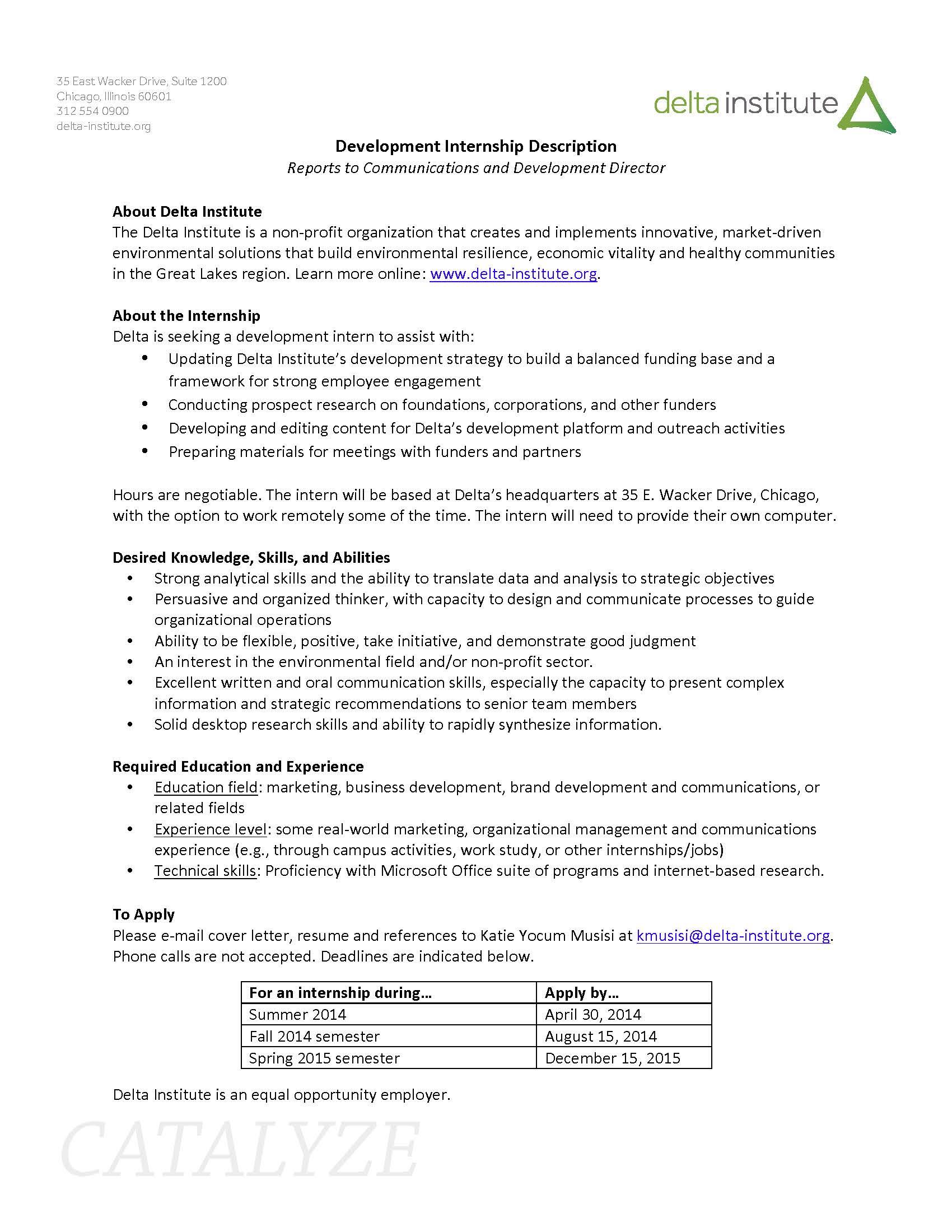 delta inst development_internship_description_april 2014