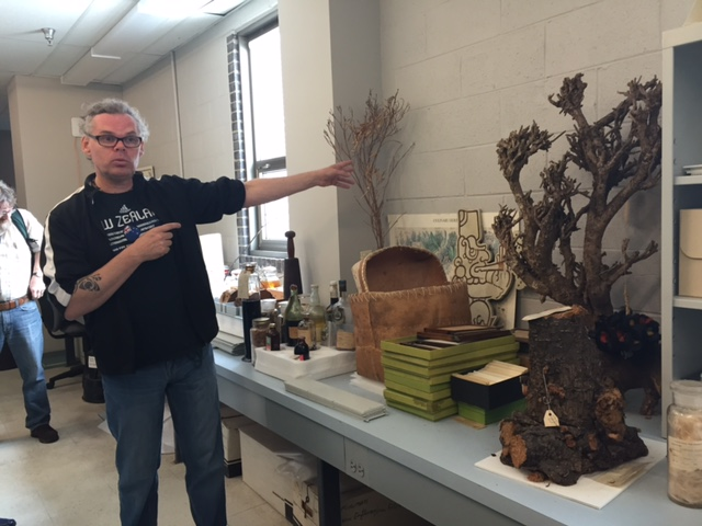 Dr. Matt Von Konrat in the Botany Collection at the FMNH (photo: M. Wasinka)
