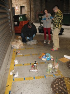 RU honors students in SUST 240 Waste conduct a waste audit of RU's AUD and WB buildings, fall 2014 (M. Bryson)
