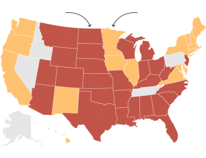 This map shows which states supported the stay on Obama's emission restrictions plan for US power plants (in yellow) and which opposed the stay (red).
