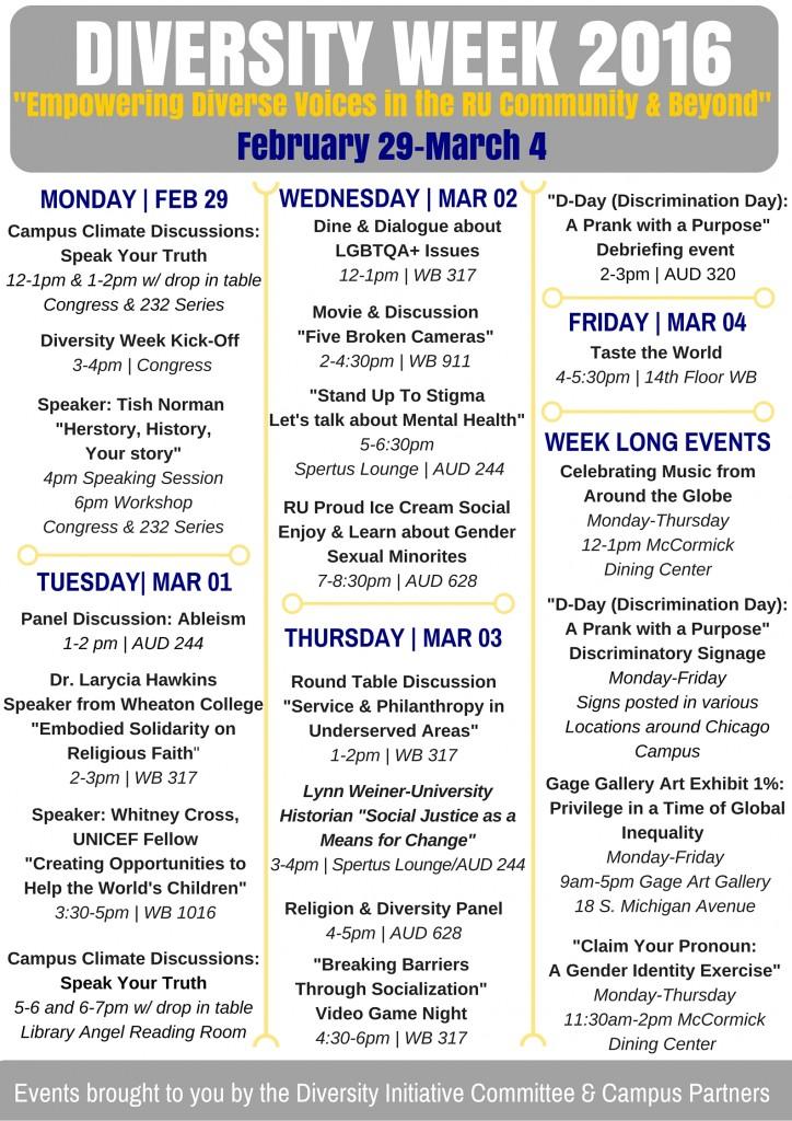 RU Diversity Week S16 Calendar