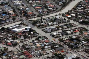 RNZAF aerial survey of damage, showing flooding due to soil liquefaction in Christchurch NZ (Royal NZ Defence Force)