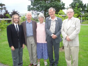 Steve Ziliak with Gosset family and the President of the Irish Statistical Association. Geoff Phillpotts, Jane (Roaf) Galbraith, Dermot Roaf, and Anthony Kinsella, after the conference on 100 years of Student's t-distribution and test of statistical significance, University College Dublin, July 2008.