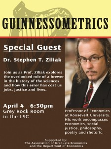 "Ziliak advised PhD students & discussed ""Guinnessometrics"" at Colorado State University, Fort Collins CO April 4th 2016"