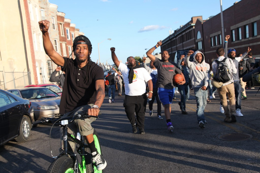 A protest in Baltimore after the death of Freddie Gray.