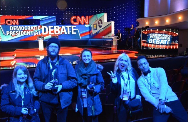 Rachel Popa, Kurt Witteman, myself, Alyson Jurgovan and Joshua Hicks at the walkthrough of the Democratic Debate.