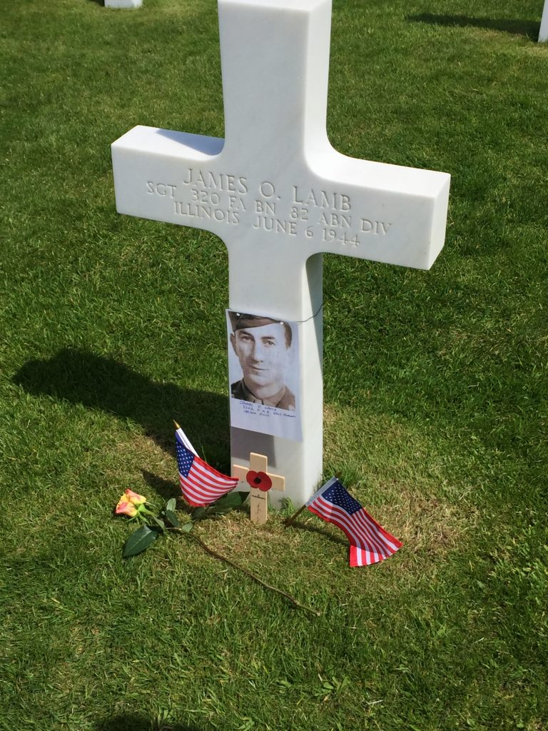Soldier's grave at American cemetery in Normandy