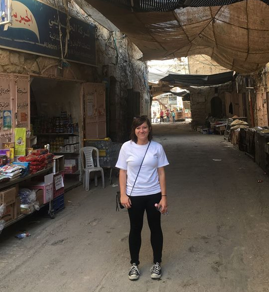 Brenda Hershey in Hebron, Palestine.
