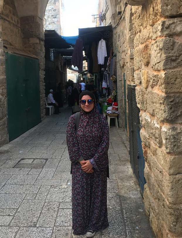 Brenda Hershey in Jerusalem wearing traditional Muslim dress.
