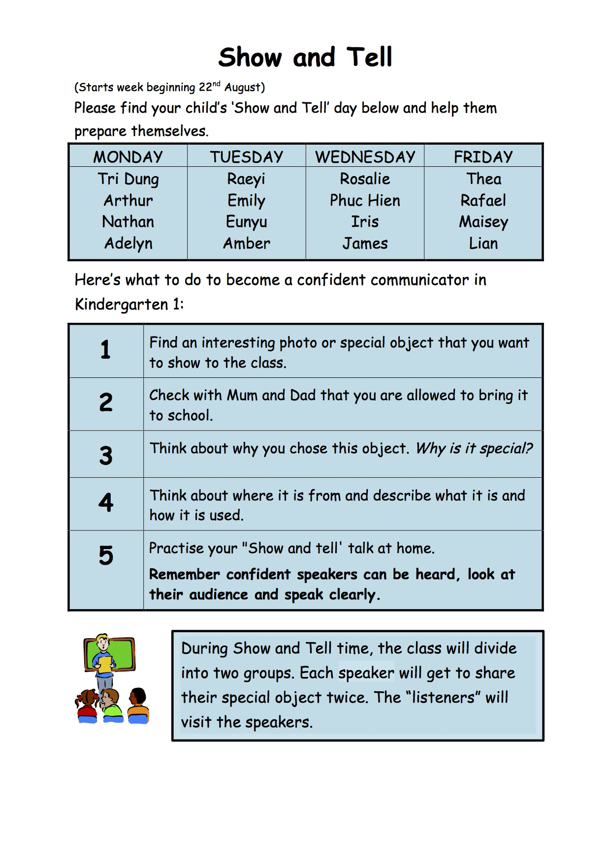 Show And Tell Schedule K1a Class Blog