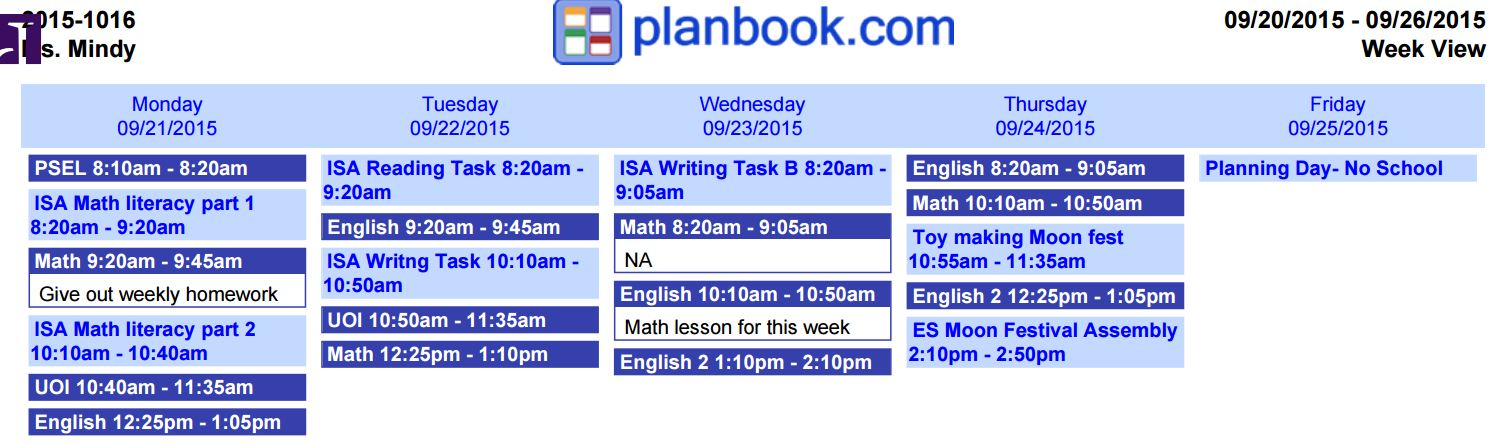 Lesson plan for next week