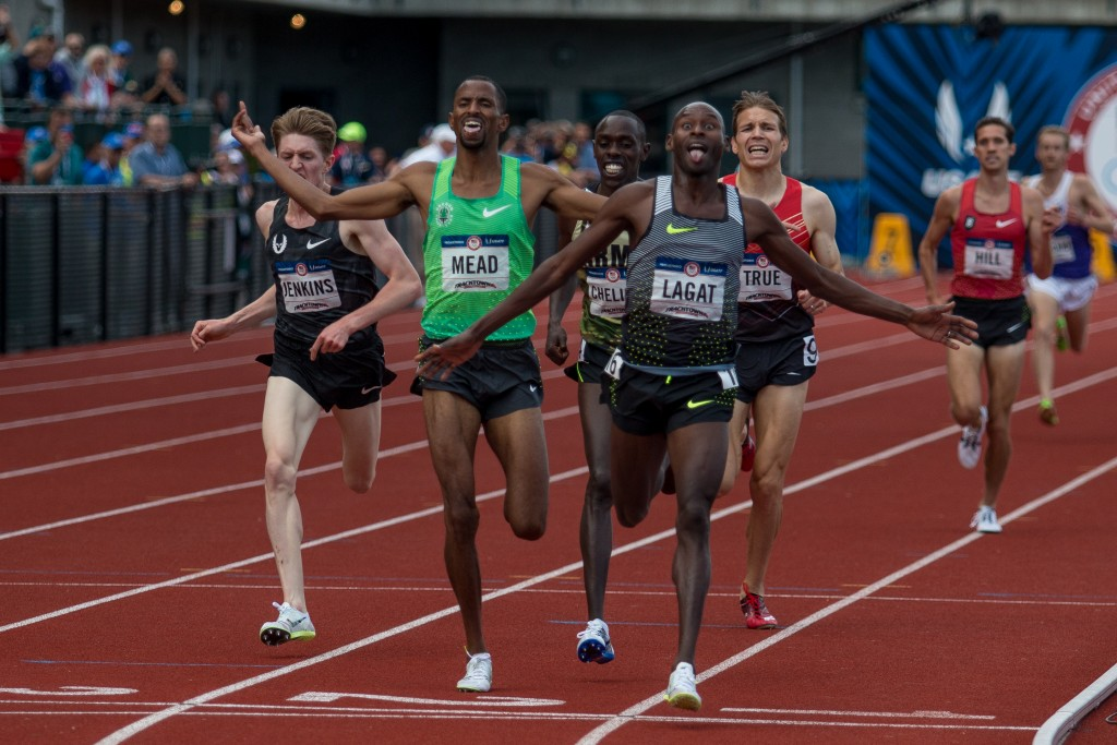 Bernard Lagat, age 41, outkicked the 5,000-meter field to make his fifth Olympic team. Photo by Dillon Vibes