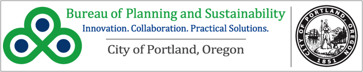 Bureau of Planning and Sustainability and City of Portland logos.