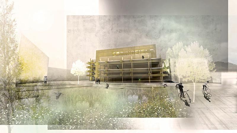 rendering of building in landscape