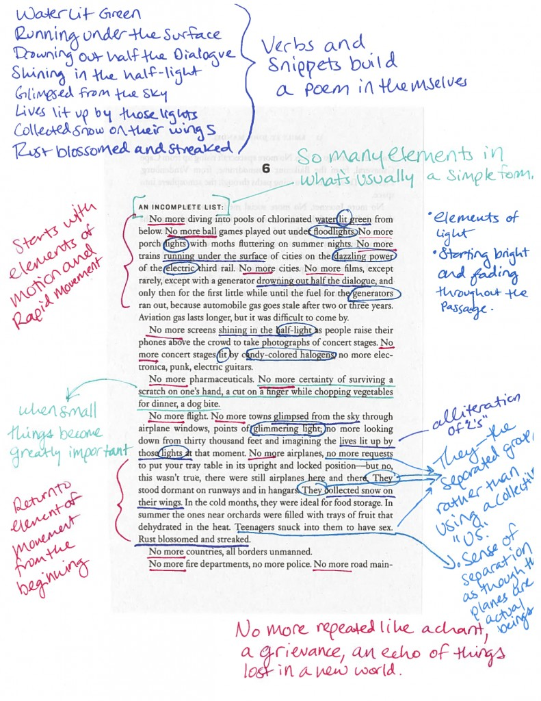 Sample annotation by by Dana Glasscock, English Major, Class of 2016