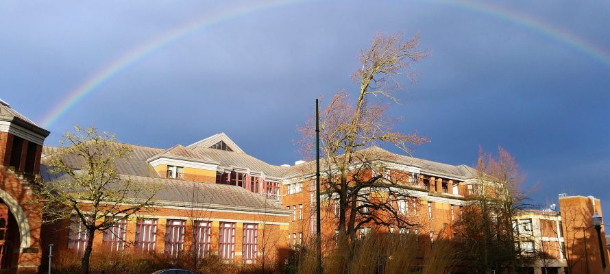 Winter Term at Willamette Hall, Home of the Physics Dept.