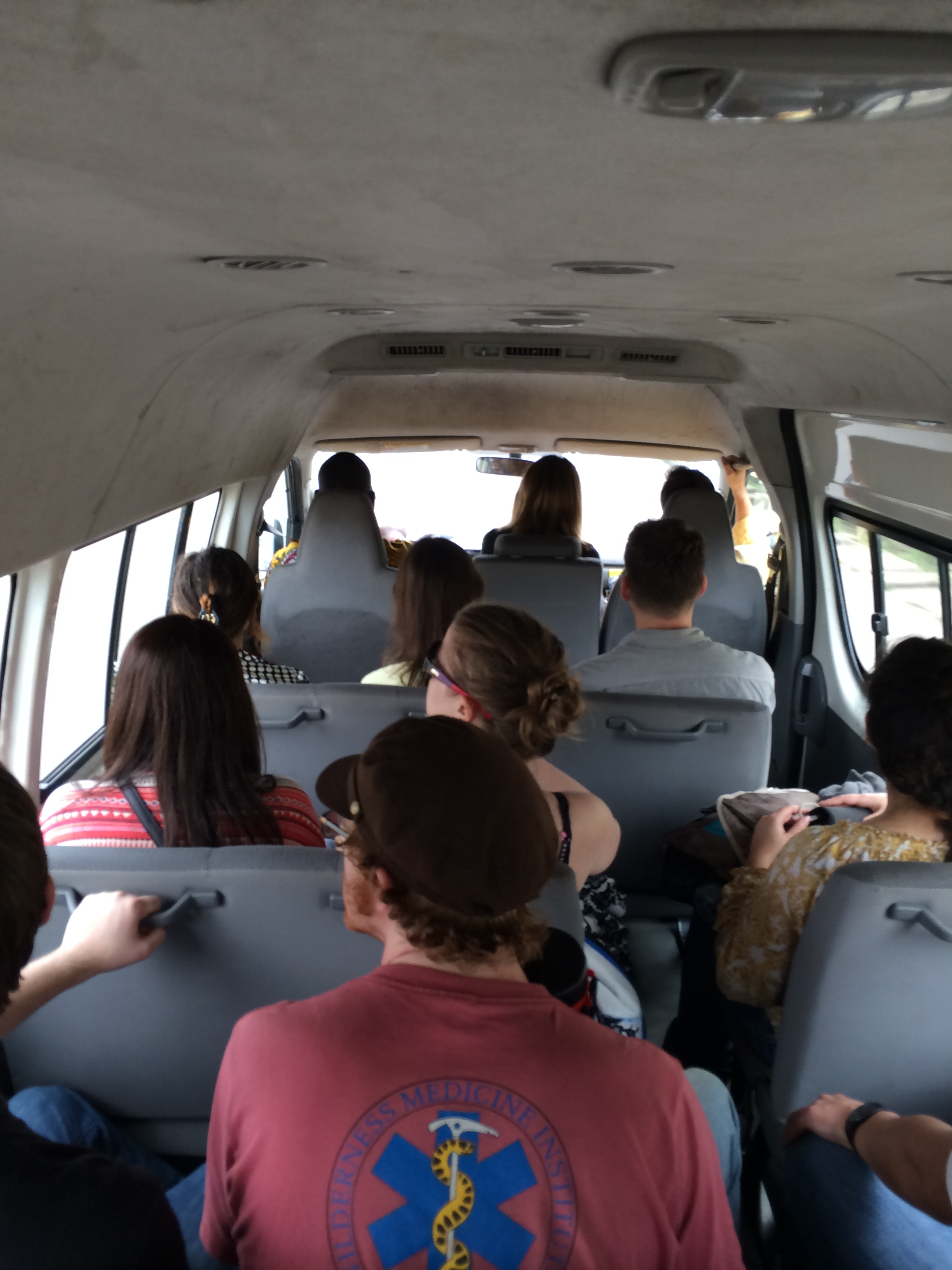 Riding in the van to Hotel Hibiscus