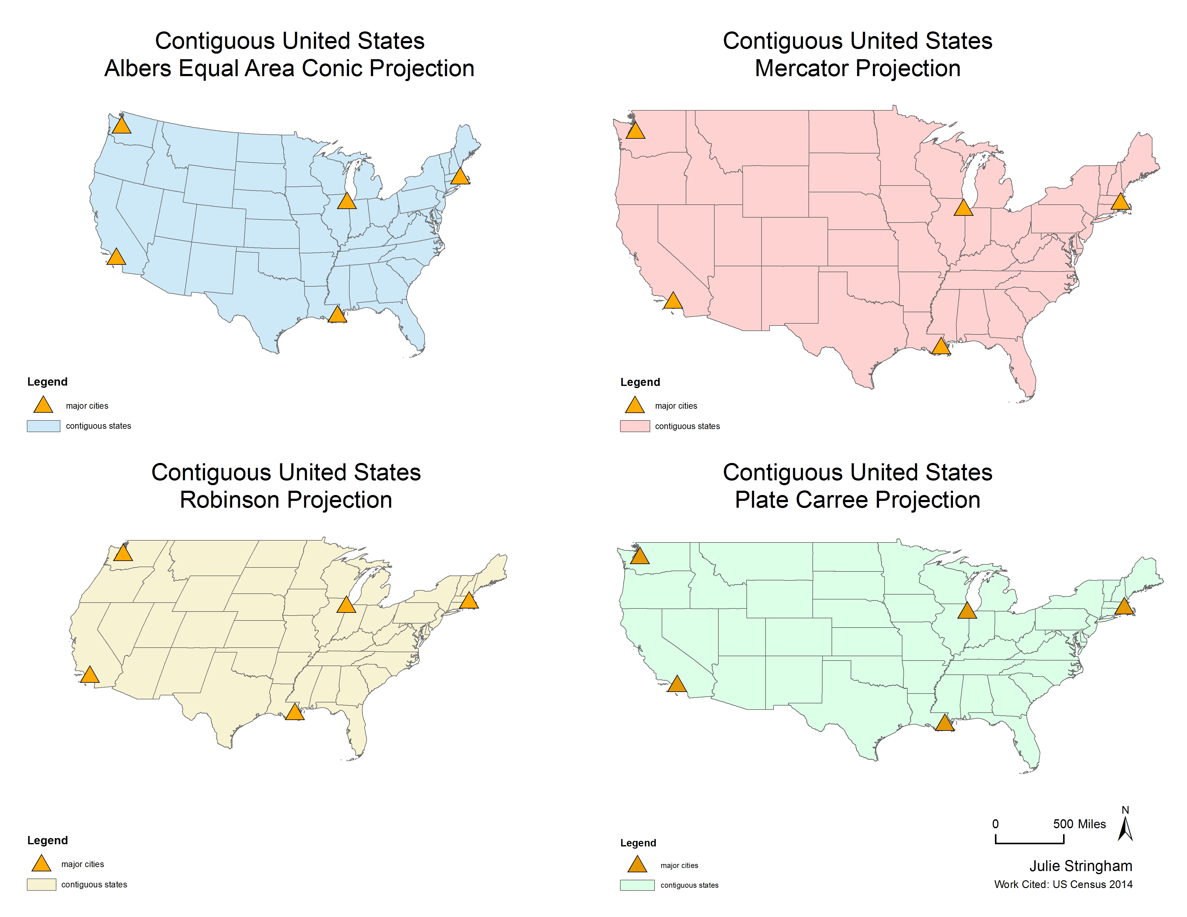Assignment I GI Science Julie Stringham - Us map different projections