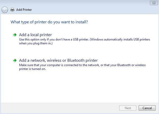 unless you have had this printer installed on your computer previously in the choose a printer port dialogue select create a new port