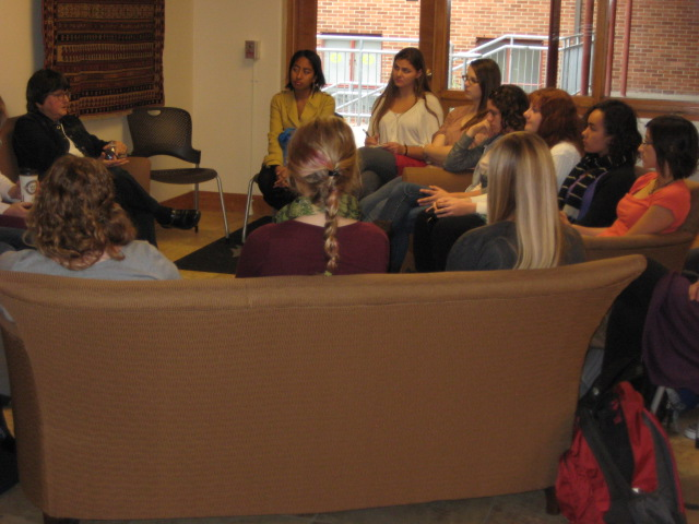After-lunch conversation in the dorm with Sister Helen Prejean, Spring 2012