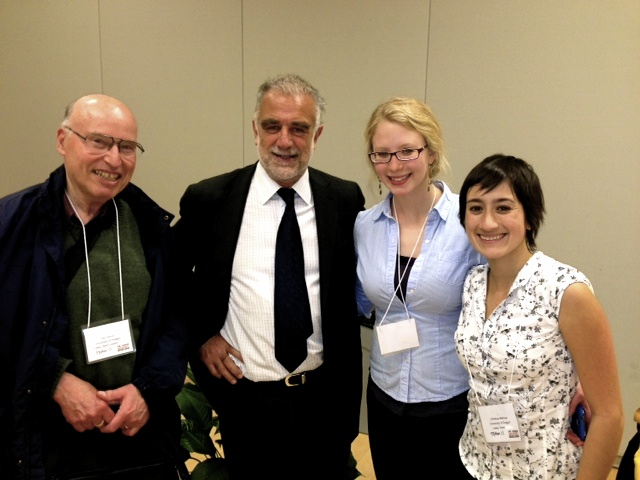 Christine15 and Erin15 meet with International Criminal Court Justice Luis Moreno Ocampo and Professor Paul Slovic during a conference on the prevention of genocide held in Washington, DC, Winter 2013