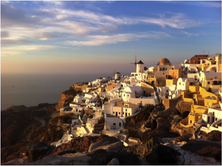 The town of Oia at the northern tip of Santorini