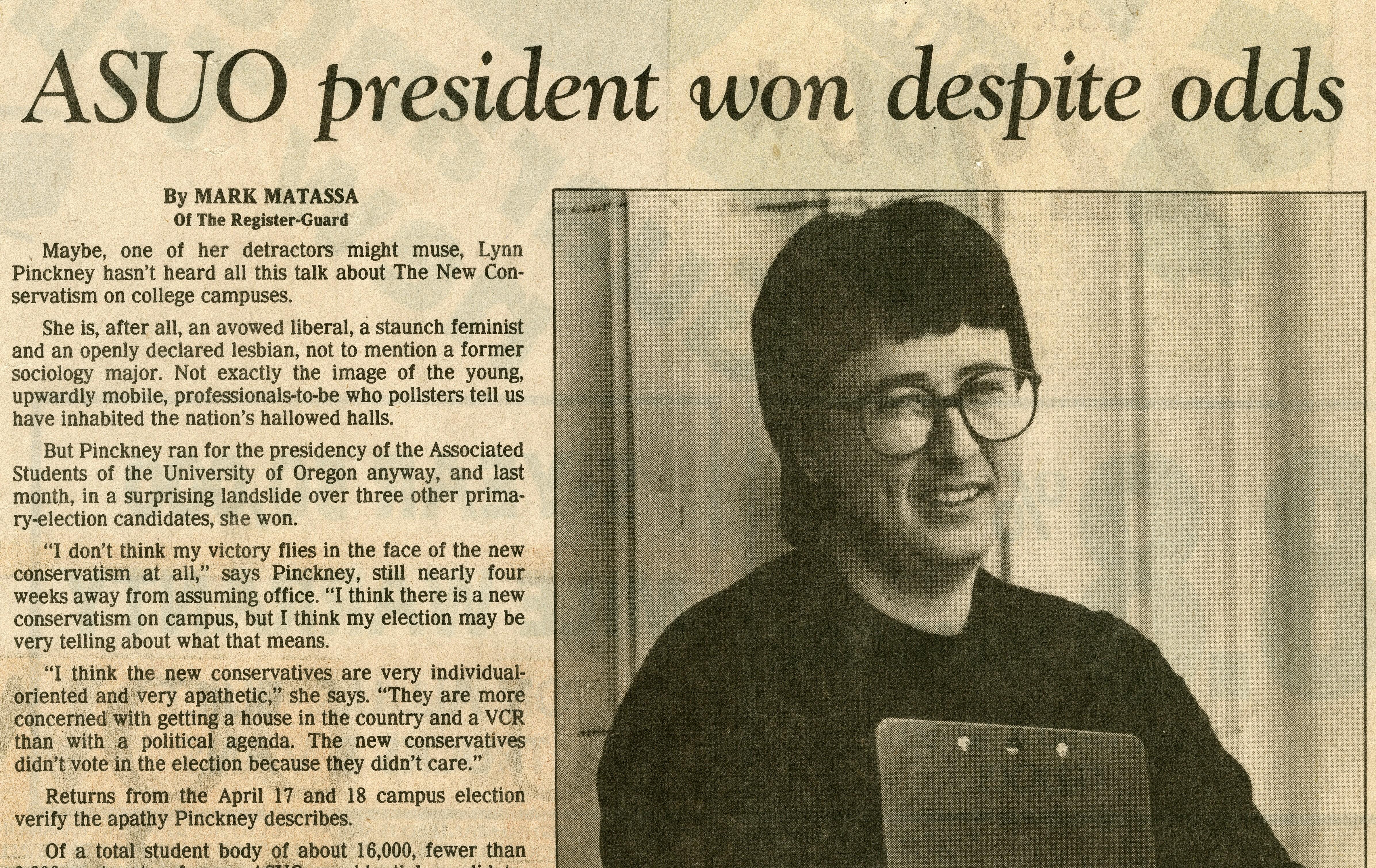 Lynn Pinckney, ASUO President in 1986.