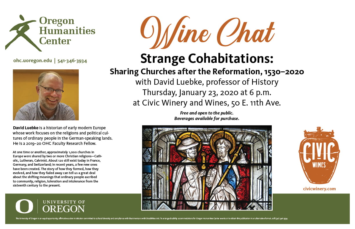 "Wine Chat poster: ""Strange Cohabitations: Sharing Churches after the Reformation"""