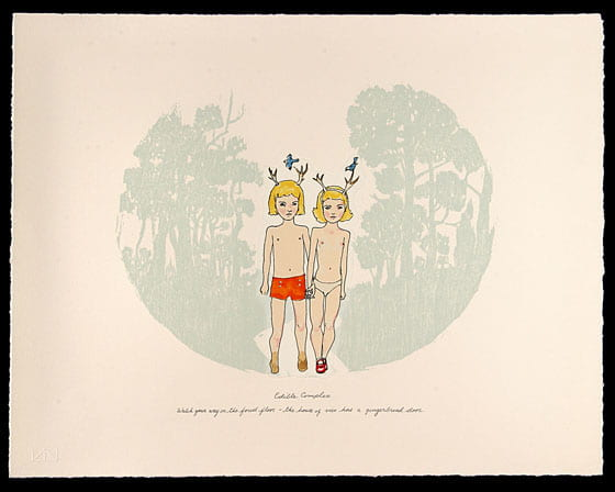 "Print from ""Father Gander"" two children walking in the forest"