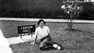 Yoko McClain in front of Carson Hall  1952