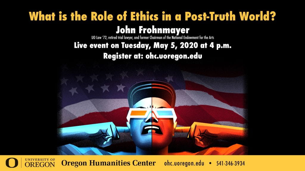 Poster advertising John Frohnmayer's lecture