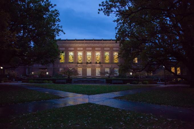 Knight Library at night