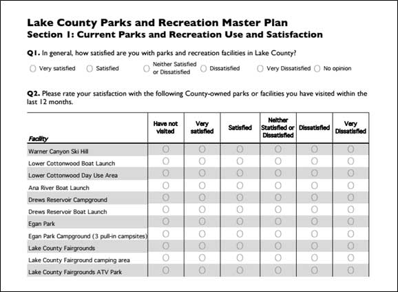 Lake county parks and recreation master plan cpw community for Likert scale questions template