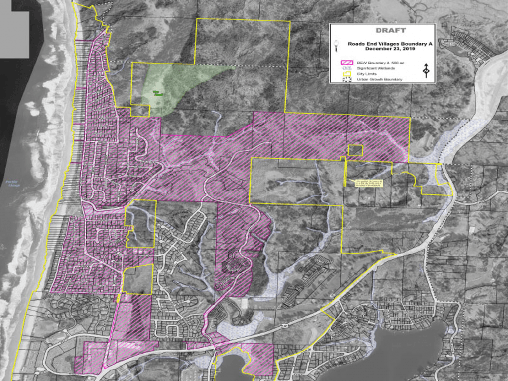 Aerial map of Lincoln City, Oregon with purple sections highlighting the proposed urban renewal boundary and yellow lines showing the city limits. The purple sections are within the yellow lines.