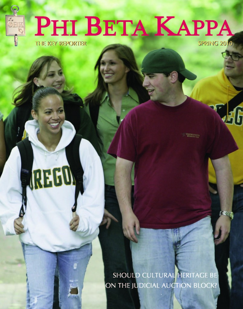 "Spring 2010 issue of Phi Beta Kappa Key Reporter featuring Alpha of Oregon Chapter and ""Letters, Laurels and Keys"" exhibit"