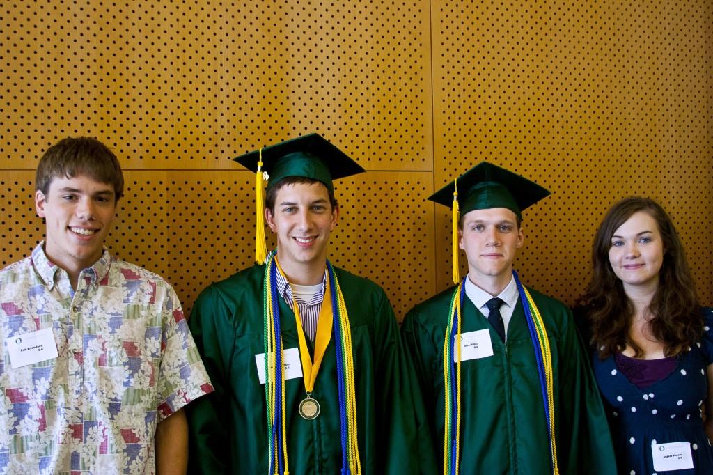 2012 Phi Beta Kappa Oregon Six (from left: Erik Erlandson, Jesse Goldfarb, Alex Miller, Angela Stelson)