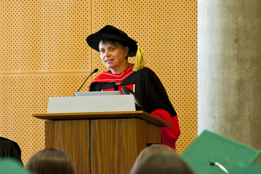 Barbara Altmann, Professor of French and Vice Provost of Academic Affairs delivers the initiation ceremony keynote to the 2012 members-elect